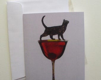 Cat on Manhattan Cocktail Glass Greeting Card