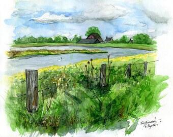 """Tiengemeten, Netherlands: 11x17"""" Archival Print of Watercolour Travel Plein Air Landscape Painting"""