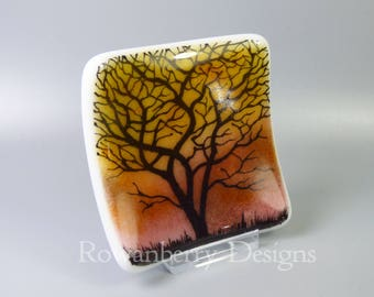 Tree Silhouette at Sunset - Handmade Fused & Painted Glass Trinket Dish - Rowanberry Designs - Painting - Drawing - Art - FA3