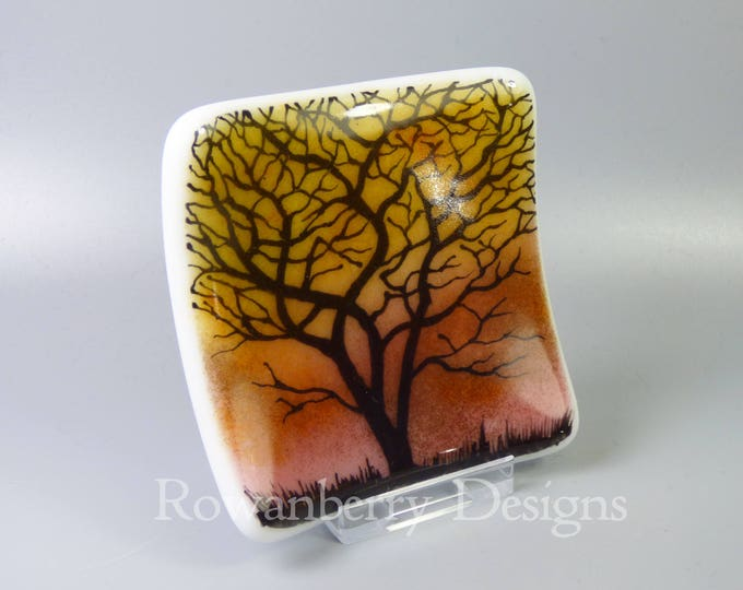 Featured listing image: Tree Silhouette at Sunset - Handmade Fused & Painted Glass Trinket Dish - Rowanberry Designs - Painting - Drawing - Art - FA3