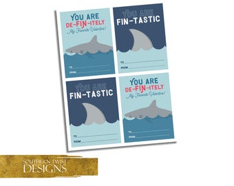 Kids Valentines Day Cards - Shark Valentines Cards - Class Valentines Day Printable Cards - Boys Valentines Day Cards - Instant Download