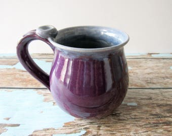 Coffee Cup, Plum and Periwinkle Mug, 14 oz, Ready to Ship
