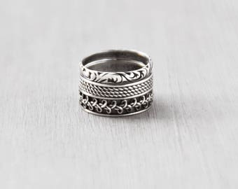 2 Vintage Silver Band Rings - 925 sterling silver intricate stacking rings - looks like 3 rings - Size 4.75