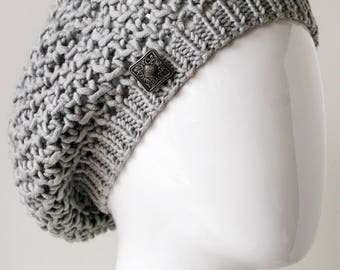 Medium-Large LIGHT GREY Merino Wool Hand Knit Hat, Beret / Tam, Made in New York, Slouch Hat, Winter Hat, Warm Slouch, Designer, Natural