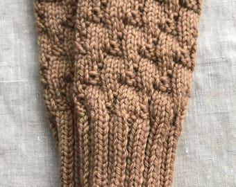 BEIGE Textured Fingerless Gloves, Merino Wool Knit Mitts / Gauntlets, Camel, Neutral, Brown, Glovelets, Mitts, Mittens, Texting