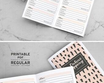 Printable Online Shopping Tracker Traveler's Notebook Inserts, Printable Online Purchase Tracker Traveler's Notebook inserts, PDF file