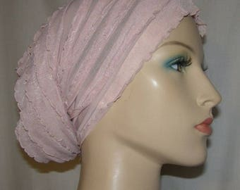 Mauve Tiered Ruffle Headwrap | Stretch Head Wrap | Hair Wraps | Turban | Tube Headwrap | Snood | Cancer Cap | Headcovering | Head Covering