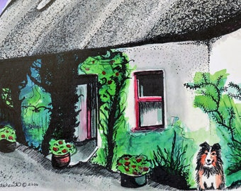 Irish Watercolor, Irish Painting, Thatched Cottage, Ireland Prints, Cottage And Sheltie, Quaint Irish Cottage, Green, Ireland Watercolor