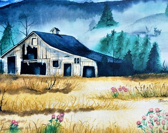 Colorado Barn, Black Forest CO, Colorado Watercolor, Barn Watercolor, Barn Art, Barn Painting, Colorado Mountains, Pine Trees, Deer Painting