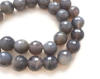 Gray Agate 14mm Big Faceted Round Semi Precious Beads - 16 inch Strand - 30 beads