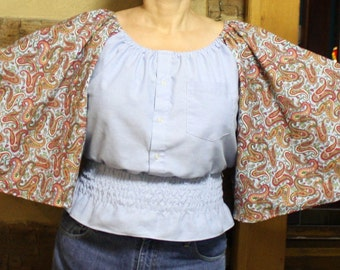Womens Bohemian Upcycled Gypsy Top  Boho Chic Hippie Clothes Shirred Chambray Shirt Peasant Blouse Retro Festival Wear Large to XL