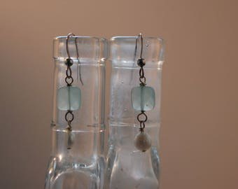 Aquamarine, Pearl, and Sterling Silver Earrings - Semi Precious Stones