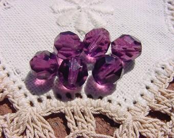 Richly Royal Plum Facets Vintage Czech Glass Beads