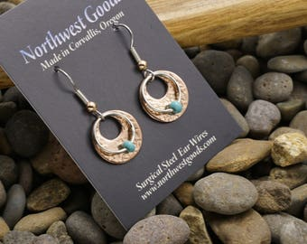 Aluminum and nickel silver earrings on surgical steel ear wires