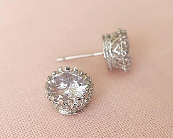 Round Cubic Zirconia Stud Earrings Rose Gold or Silver Prong Setting Clear 8mm CZ Crystal Bridal Earrings
