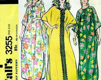 MCCall's 3255 CAFTAN COVER-UP Vintage 1970s ©1972
