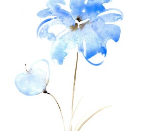 """Original watercolor flower painting: """"Blue and Sepia Breeze"""""""