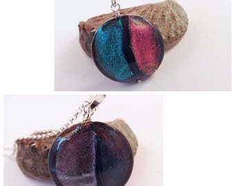 Dichroic Murano Glass Pendant on Sterling Chain, Two-Sided - Four Block Colors, Purples, Reds, Silver, Blues, Holiday Gift for Her