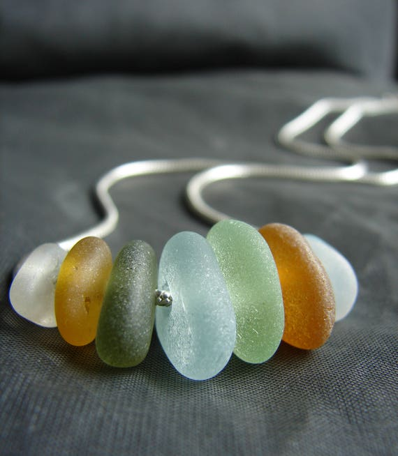 Wanderlust sea glass necklace in earth tones
