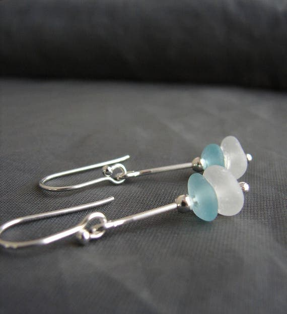 Sea Stack beach glass earrings in aqua and white