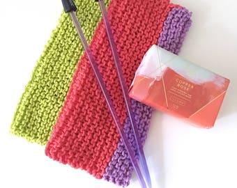 Easy Knitting Kit - washcloth set - knitting kit - Free shipping