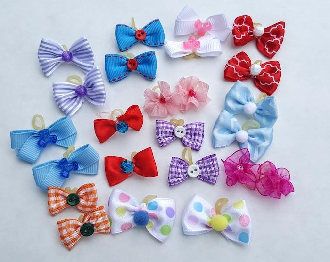 Small Puppy Dog Bows - 12 pairs 24 bows
