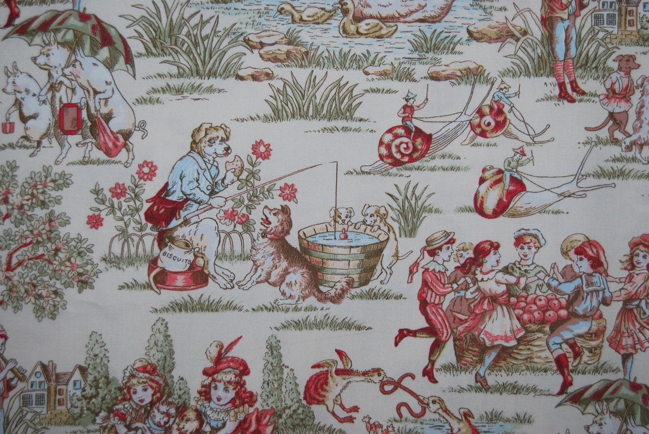Vintage Fabric Victorian Baby Fabric Mother Goose Nursery