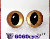 1 Pair Gold on gold hand painted safety eyes, cat eyes, plush eyes, animal eyes, craft eyes, amigurumi eyes, toy eyes, plastic eyes