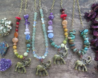 Choose your Elephant Necklace - Rainbow Moon Earthy Green Turquoise - Long Pendant - Brass Chain -  Stone Gypsy Bohemian Festival Jewelry