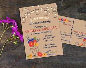 Rustic Mason Jar Zinnias Elopement Invitation Suite, Wedding Reception Invitation, Response Postcards,Event Invitation, Party Invitation
