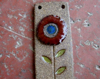 Simple Red Flower Stoneware Focal Pendant
