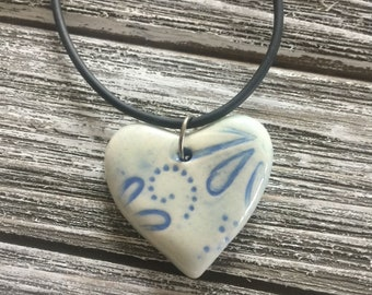 Powder Blue Floral Porcelain Heart Pendant 2