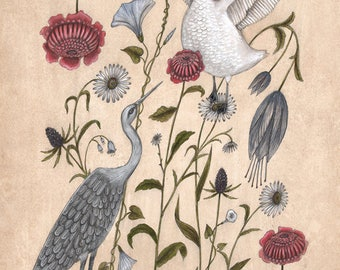 Swan and Crane - Original Framed Painting