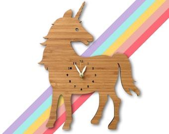 Unicorn Wall Clock with numbers, nursery, kids room decor, Wood