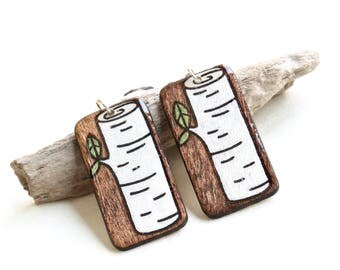 Wood Rectangle Birch Tree Log Dangle Earrings, Plants & Trees, Lightweight Hypo Allergenic Earrings, Big Bold Casual Earrings, Canadian Made