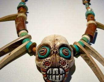 Voodoo, Shadow man, Vanuatu, Shrunken Head, Cats Teeth, Zombie Head Necklace