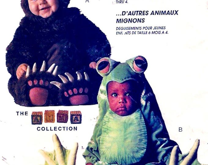 Toddlers bear costume childrens frog outfit cute critters Halloween themed party sewing pattern McCalls  P248 Uncut Sz half to 2
