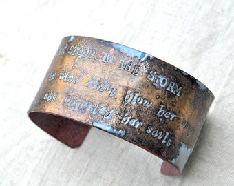 Enamel Cuff 'She Stood In the Storm' Quote