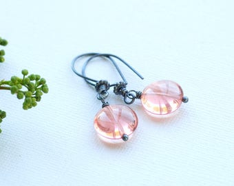 Pink Earrings, Pink Glass Earrings, Rose Pink Earrings, Summer Earrings, Secret Garden, Pink Wedding, Bridesmaid Gift, Oxidized Silver
