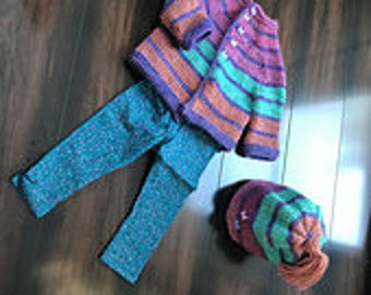 Hand Knit Baby Sweater, Pink Hat, Sweater Hat Set, Baby outfit, Newborn Sweater, Baby Sweater, Baby Hat, Stripe Baby Sweater, Handknit