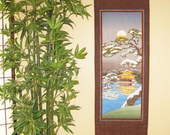 Quilted Wall Hanging Golden Pavilion in Snow Japanese Asian Design Tenugui Scroll Size