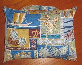 South Seas Hawaiian Design Travel Pillow with Handle Blue