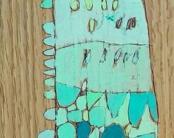 Giraffe Jennifer Mercede painting 4.25x19in 'Babe Blue'