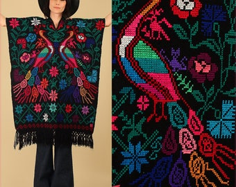 ViNtAgE 60s 70's Fringe Huipil Poncho Black Colorful Peacock Caftan Mexican Artisan Embroidered Maxi Cape Sweater Needle Point Punto de Cruz