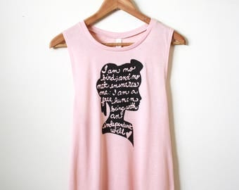 "Jane Eyre Quote - ""I am no bird; and no net ensnares me"" - Charlotte Bronte - Literary Gifts - Muscle Tank. MADE TO ORDER"