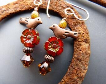 Copper Birds on Opalescent Orange Flower Earrings