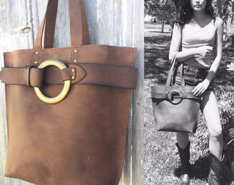 Rustic Leather Harness Bag in Distressed Brown with Leather Belt by Stacy Leigh