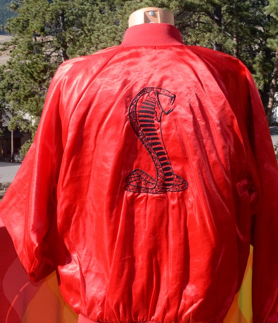 vintage 80s windbreaker jacket FORD COBRA car racing nascar satin baseball XL Large
