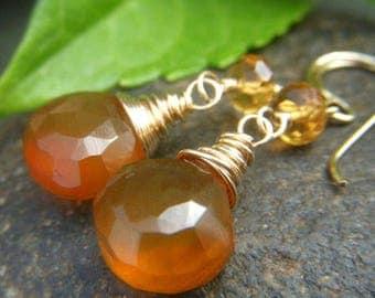 Golden Chalcedony Earrings Goldfilled Earrings, Citrine and Golden Brown Gemstone Earrings, Teardrop Dangle Gold Filled Honey Color