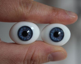 22mm Oval Glass Eyes - Blue